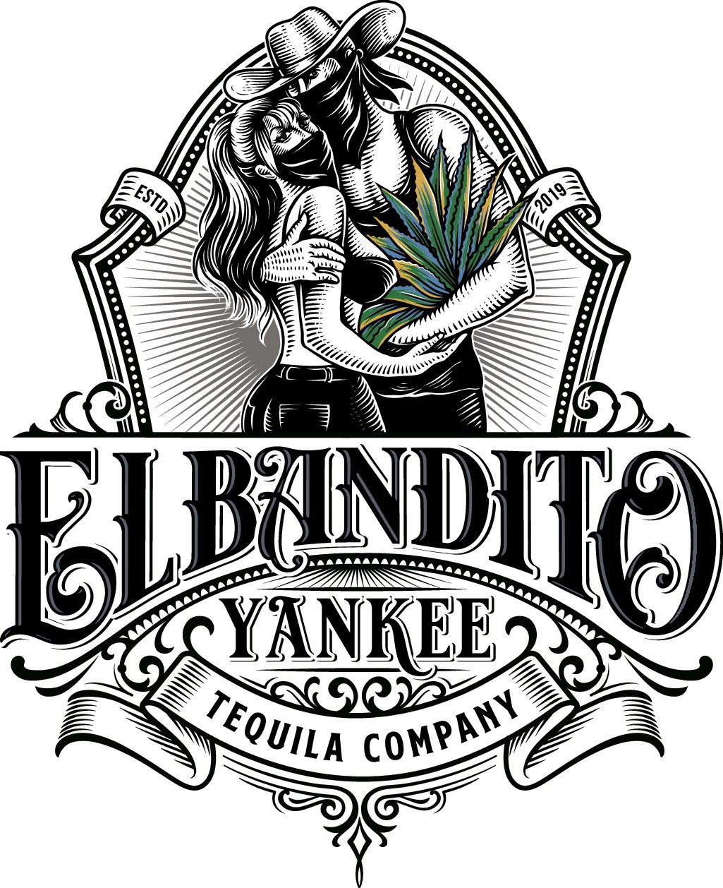 Create an illustrative logo for a new tequila company