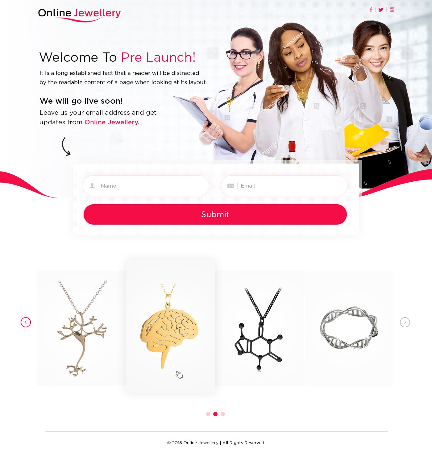 Create an aspirational landing page for a science jewelry e-commerce startup.