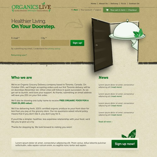Website Design - Organics Live Inc. | www.organicslive.com | Say Yes To Veggies!