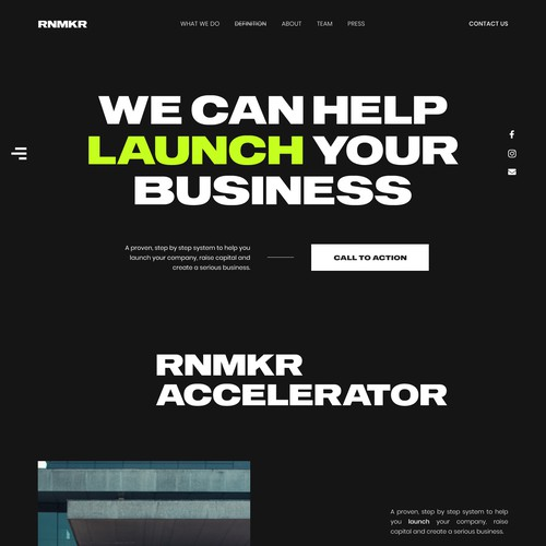Landing Page for the Startup Accelerator