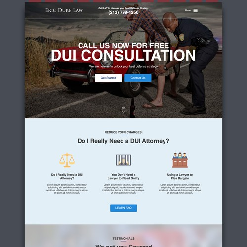 Landing Page design for A law firm