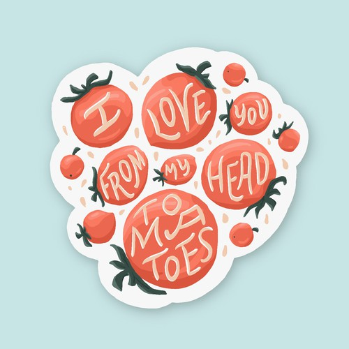 Tomato sticker with a pun