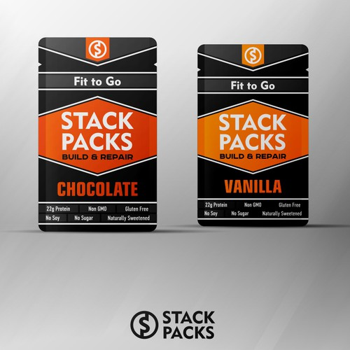 Stack Packs packaging label