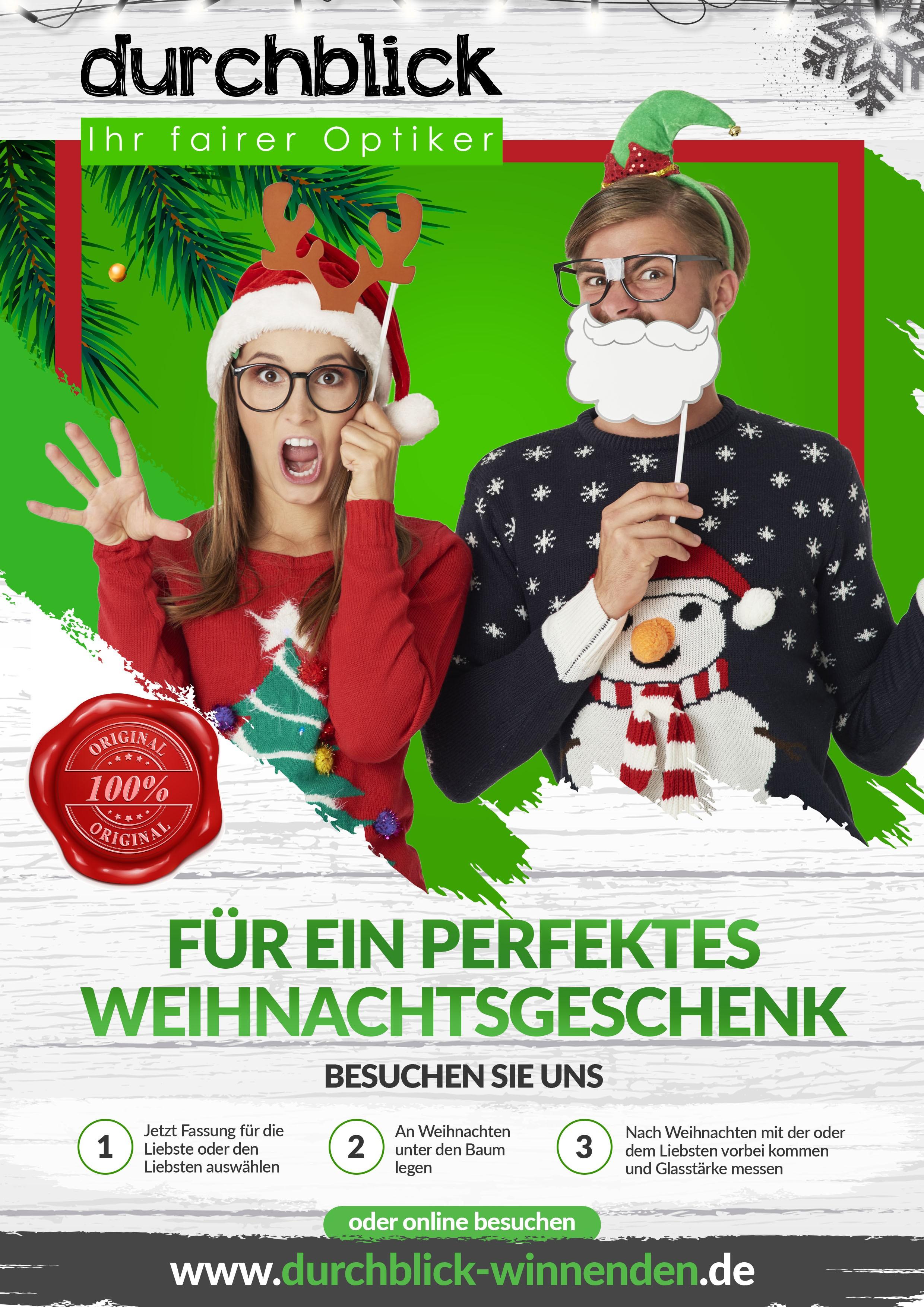 Flyer für Brille als Geschenk in der Weihnachtszeit