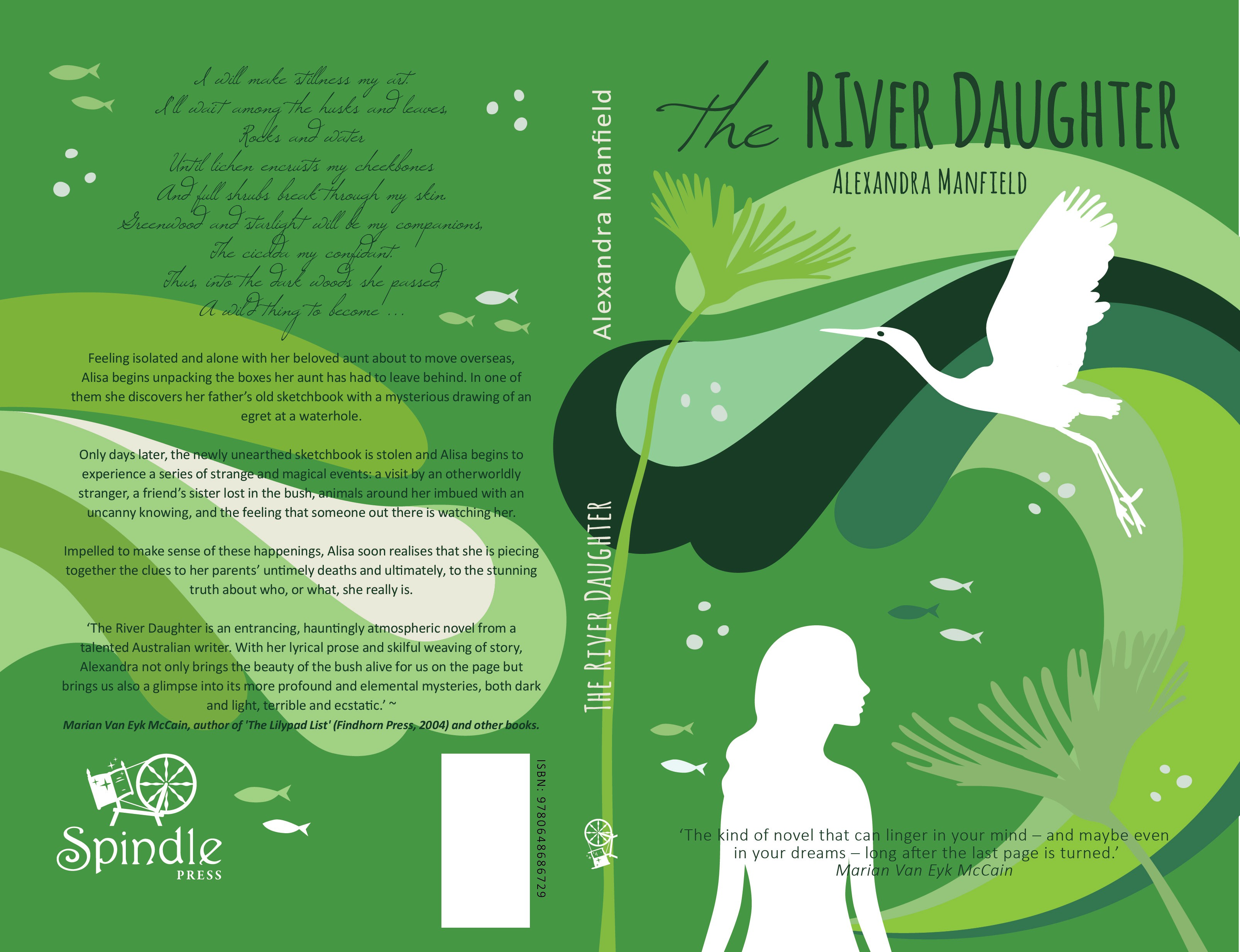 Lyrical book cover design for my novel, 'The River Daughter'