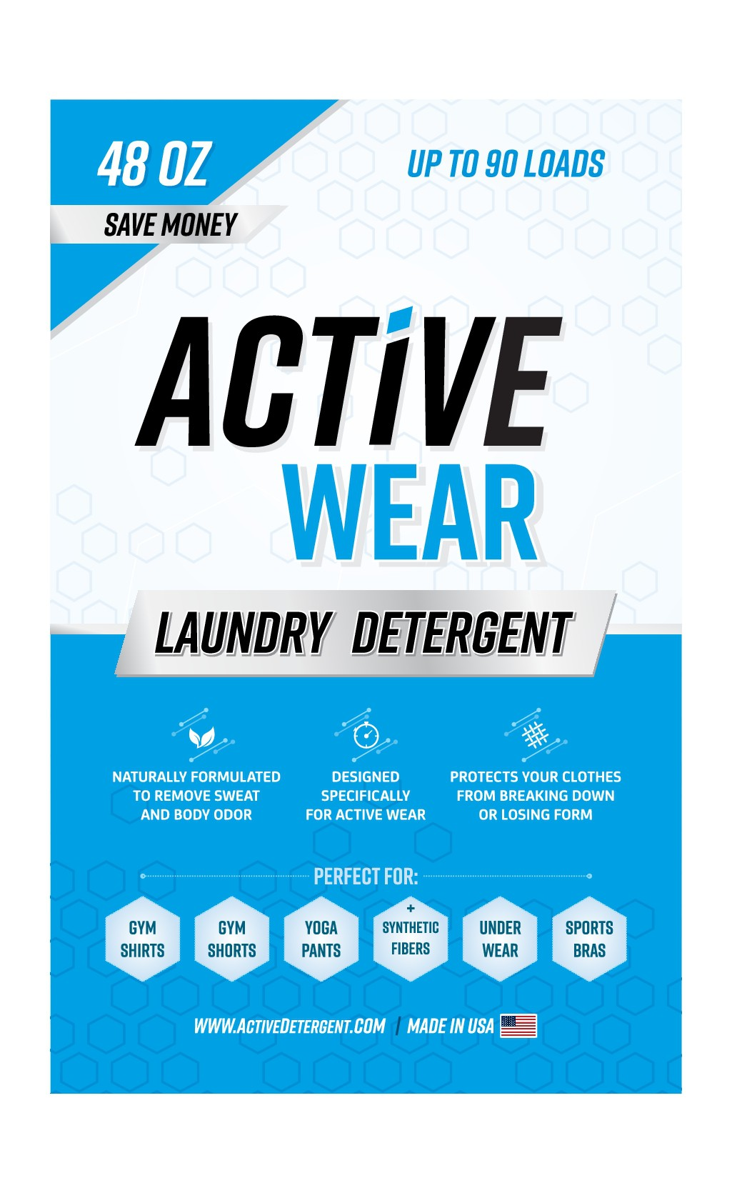 """Create Stand Up Pouch For """"Activewear"""" Laundry Detergent"""