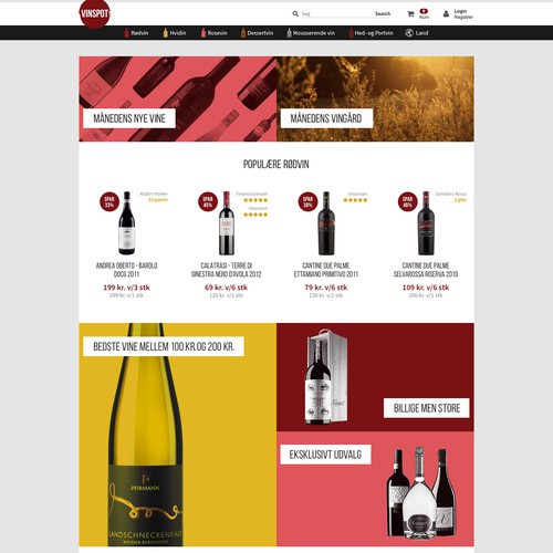 Home page for the wine shop