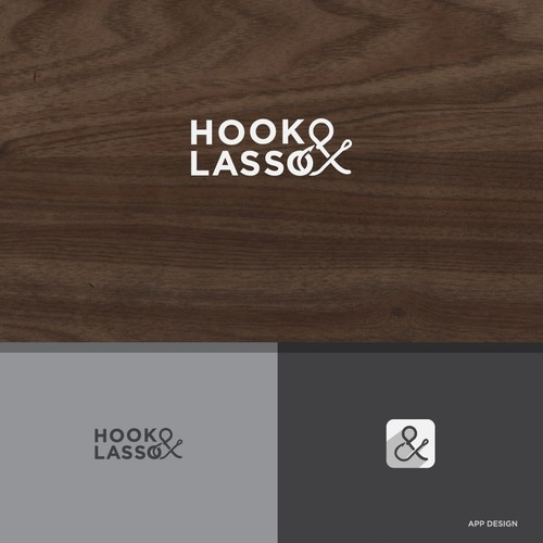 Playful logo and biz card for writers at Hook & Lasso