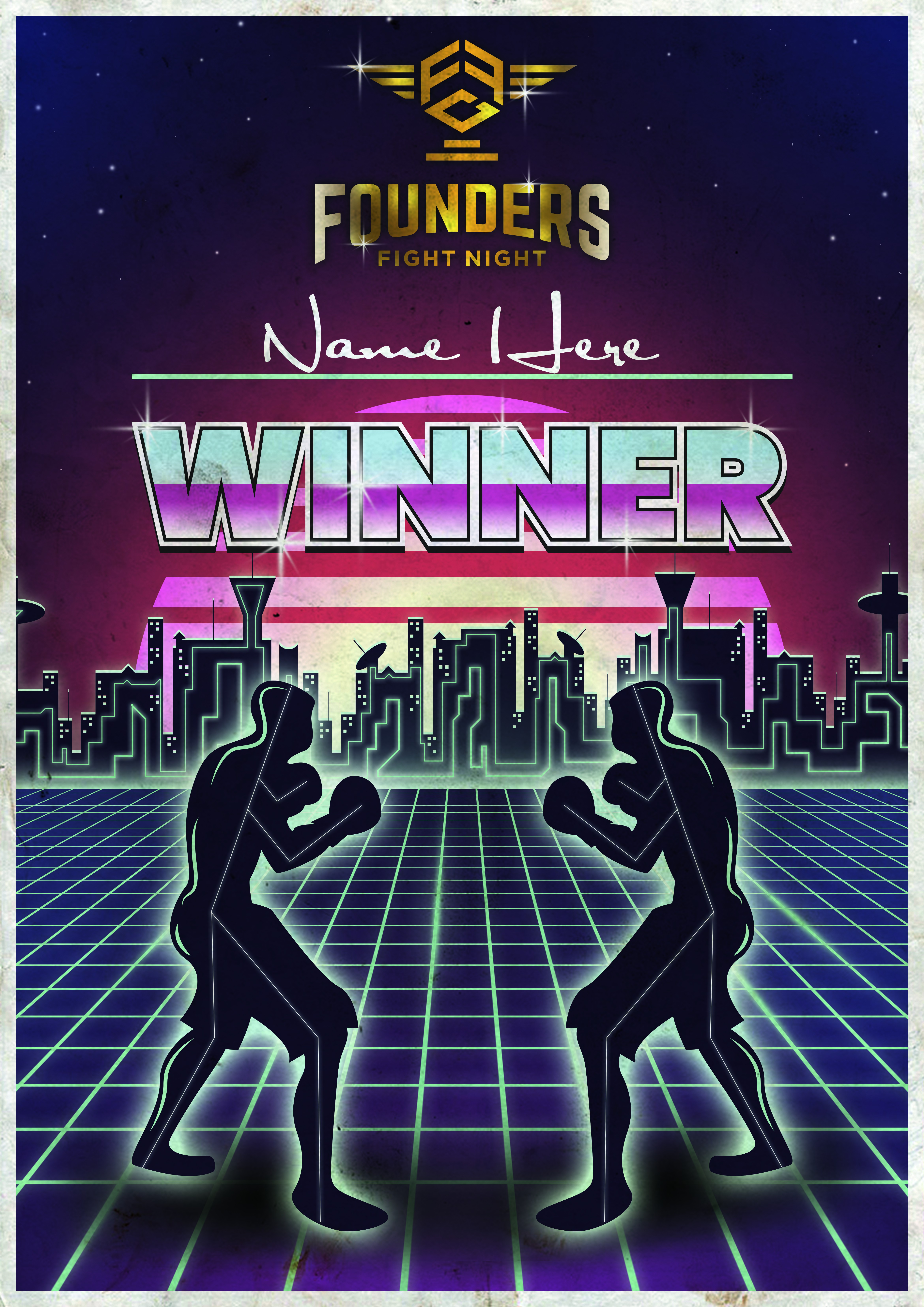Whoop Whoop!!! The retro-futuristic boxing poster that will be awarded to startup champions!