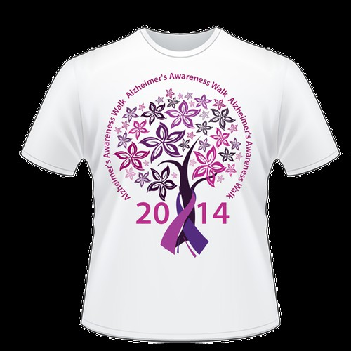 Team T shirts for Alzheimers' Walk