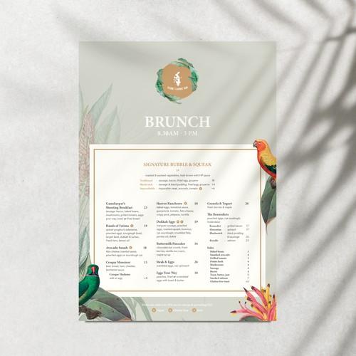 Tropical Menu Design for High End Eatery