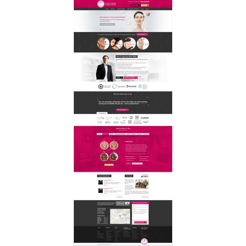 Create an engaging yet classy website design for a cosmetic surgery clinic