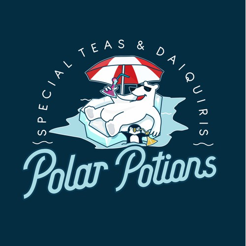reate a fun mascot for Polar Potions Frozen Daiquiris and Special Teas