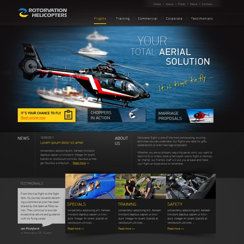 website design for Rotorvation Helicopters