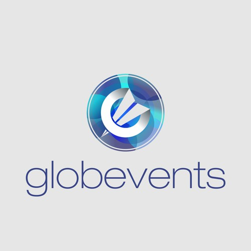 Abstract and sharp logo for globevents organisation