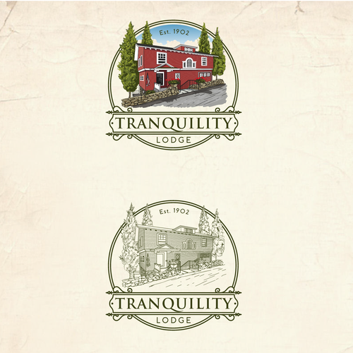 Tranquility Lodge illustrator logo design