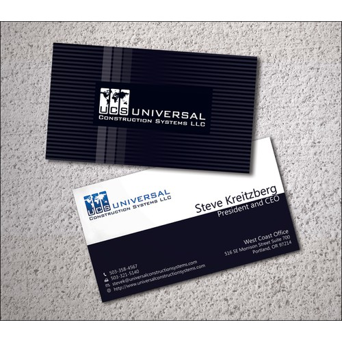 Business card for Universal Construction Systems, LLC