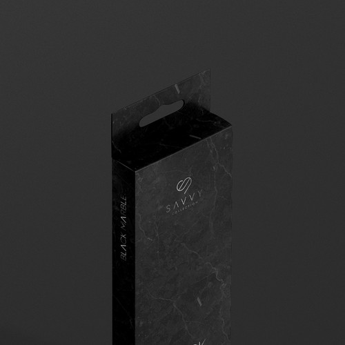 Bold Savvy Black Marble Resistant Product Packaging Design