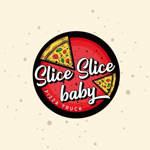 Retro pizza logo