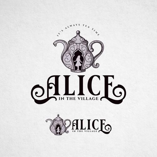Logo for an Alice in Wonderland themed Tea room.
