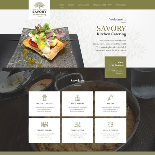Web Design fr Savory Kitchen Catering