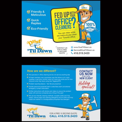 Post Card Design for Office Cleaning Company