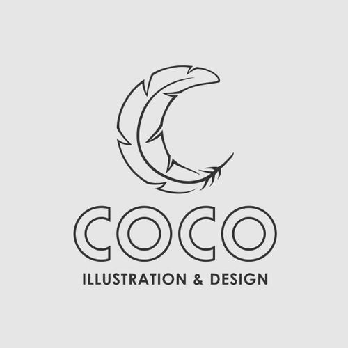 Sleek Feather Logo Concept for Artist