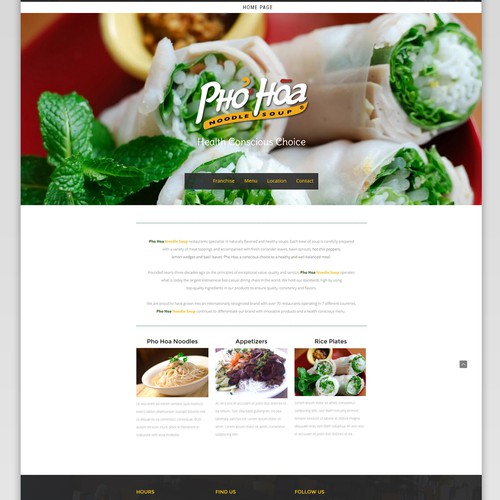 "Website design for ""Pho Hoa"" - noodle and soup"