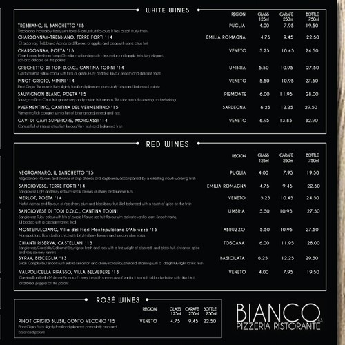 BANCO PIZZERIA RISTORANTE Menu Design