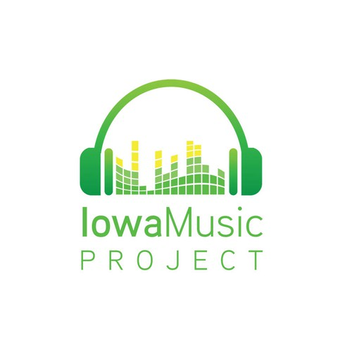 Logo for an Iowa nonprofit celebrating live music (folk, blues, roots) and community