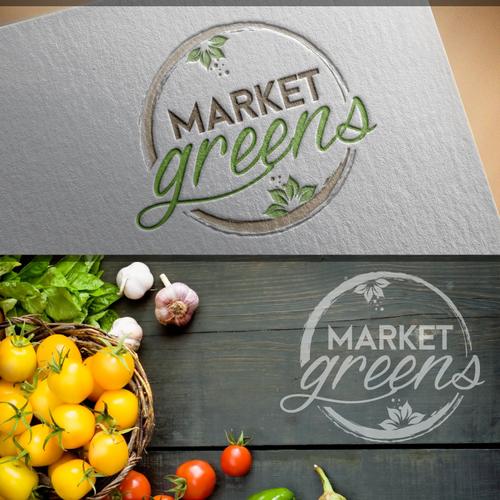 Create a fresh clean elegant logo for a premium custom salad restaurant - Market Greens