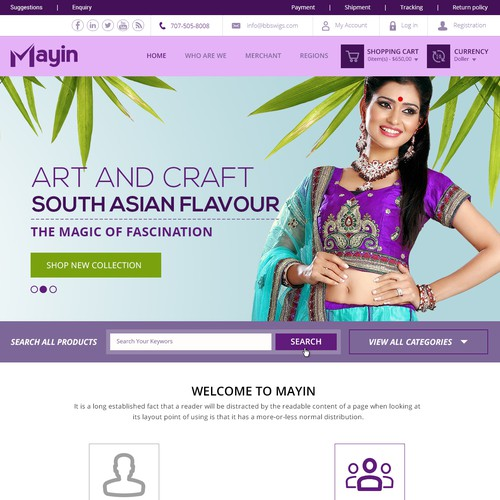 Create a merchant and user web design for regional art