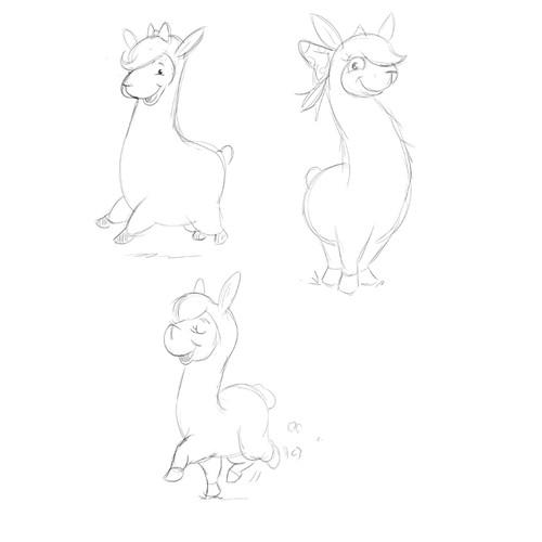 Cutie Llama Sketch