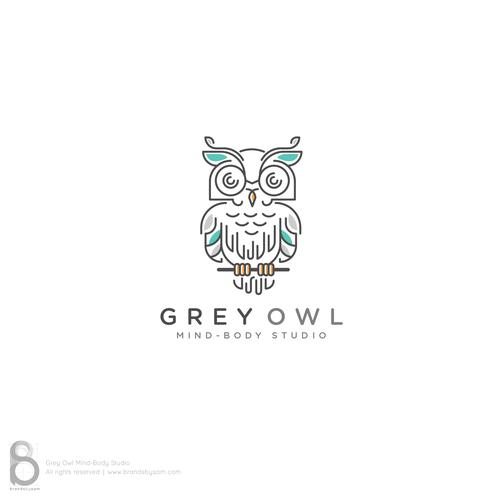 Line-art Owl logo design concept