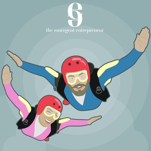skydiving couple & logo