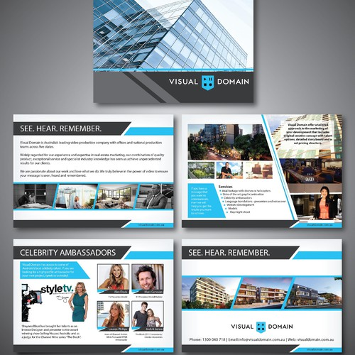 Create a edgy brochure for Visual Domain!
