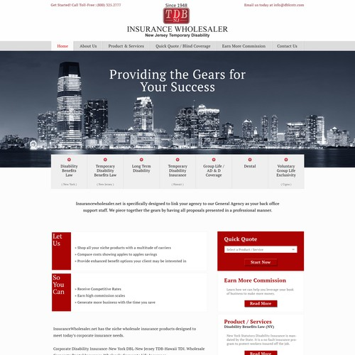Website focused on a New Jersey insurance product