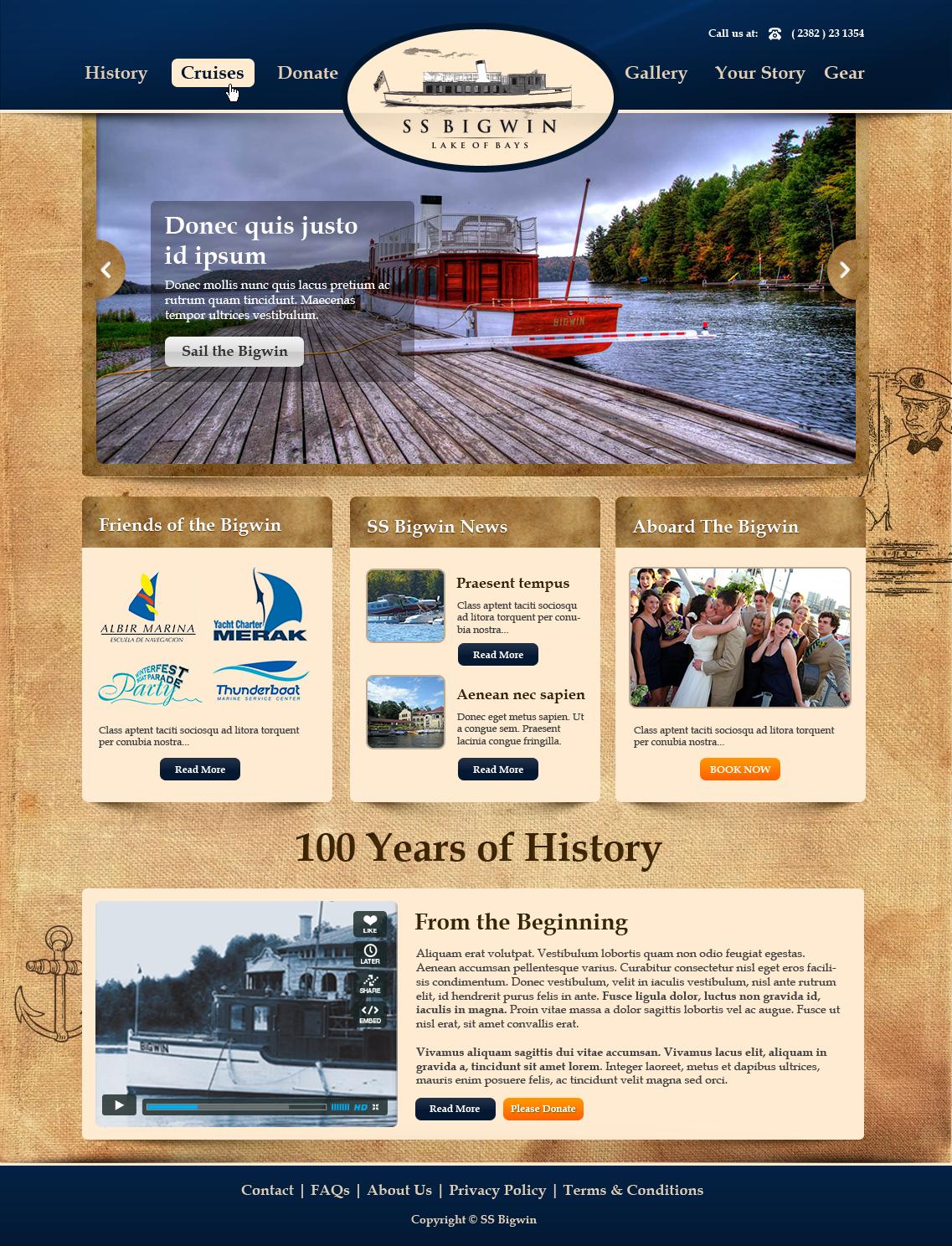 Website Design for Restored Steamship
