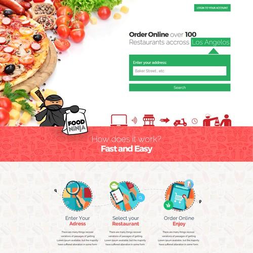 Online Food Order Service Landing Page Design