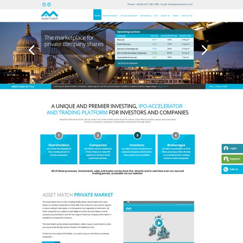 Landing page for a fin-tech firm