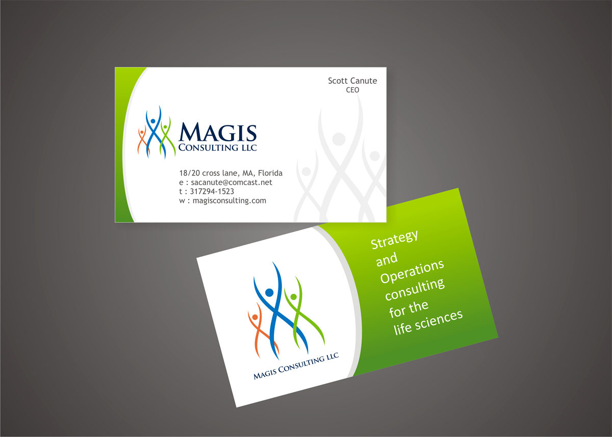 Create the next logo and business card for Magis Consulting LLC