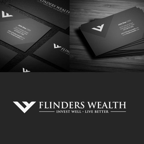 logo and business card for Flinders Wealth