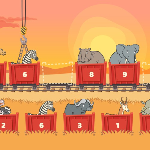 Wagon level from Safari Train 123 math game