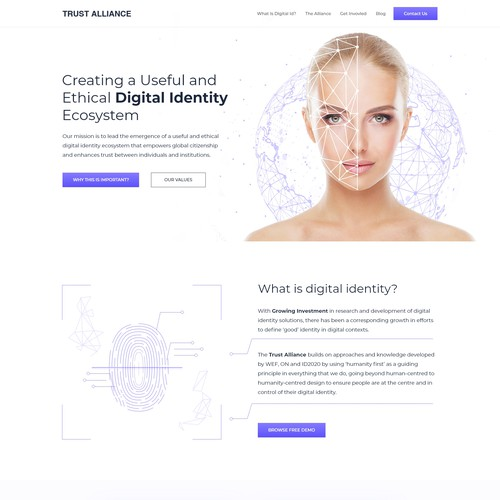 Digital Identity Ecosystem  Home page Redesign