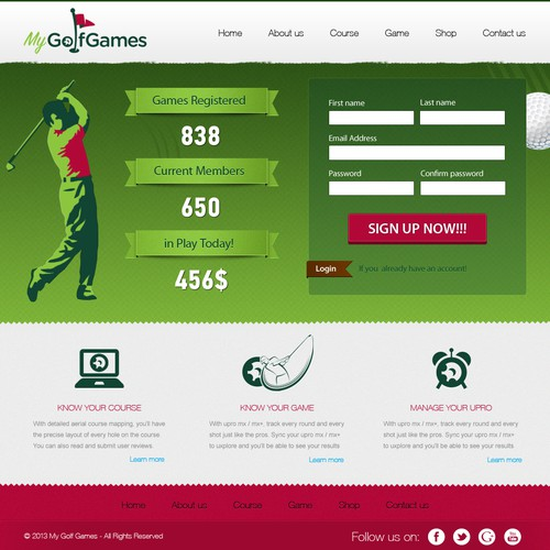 Create the next website design for MyGolfGames