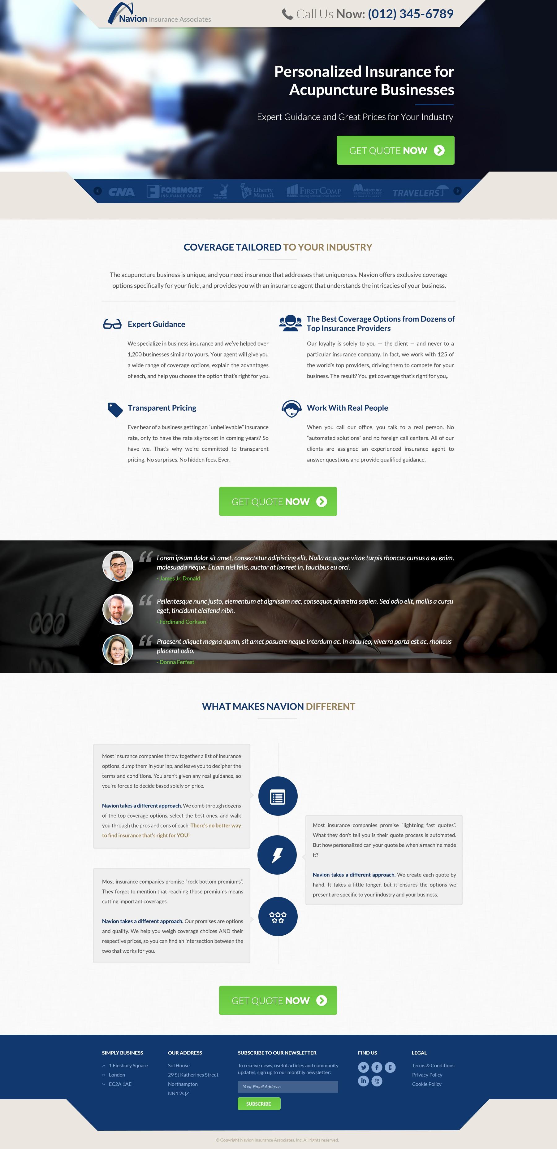 Create a CTA Landing Page for Navion Insurance Associates