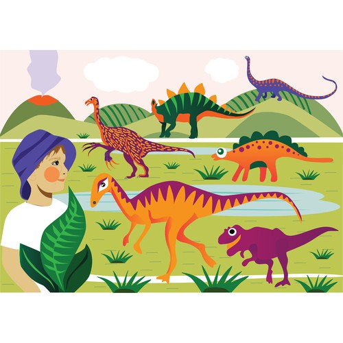 Illustration Rudy and the dinosaurs