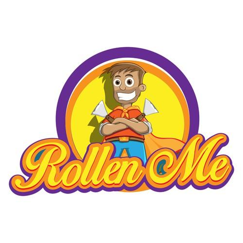 Rollen me logo design with happy mascot