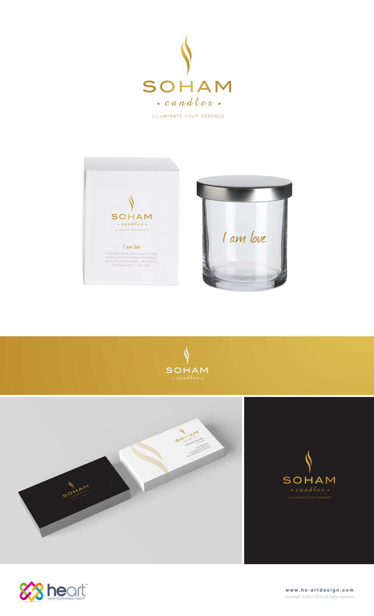 Create a logo and business card for a uniquely, creative candle company
