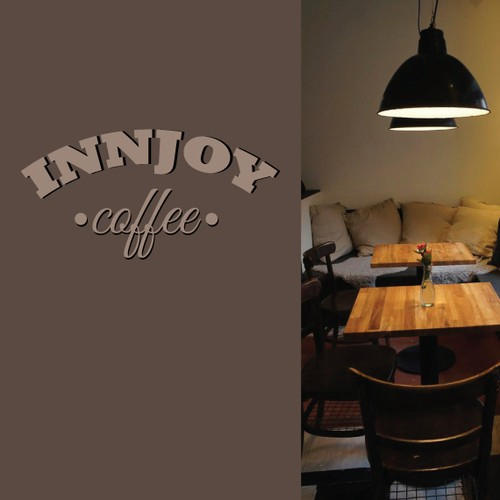 Illustrate brushstroke, vintage, seal logo for coffee shop
